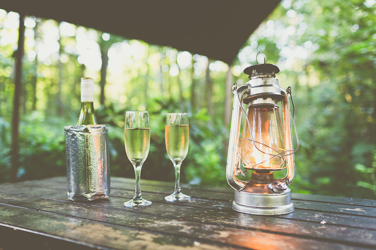 Lantern with two glasses of champagne