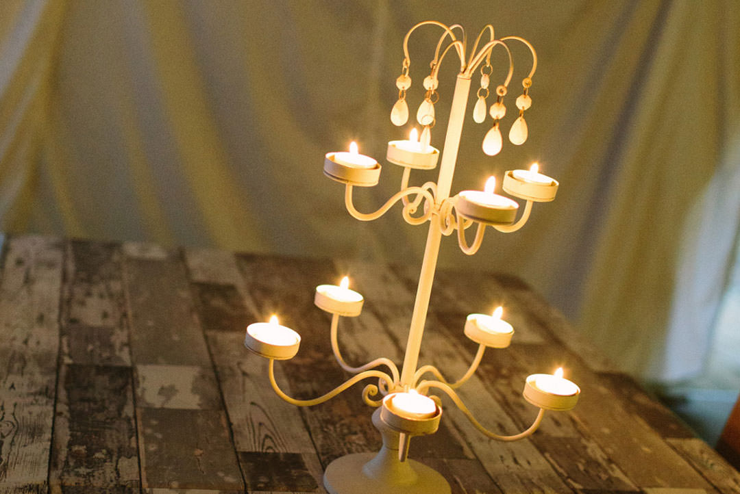 A table decoration filled with candles